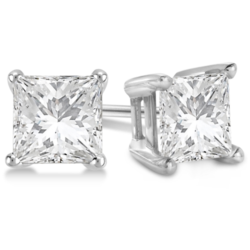 Square Diamond Stud Earrings Basket Setting In Palladium