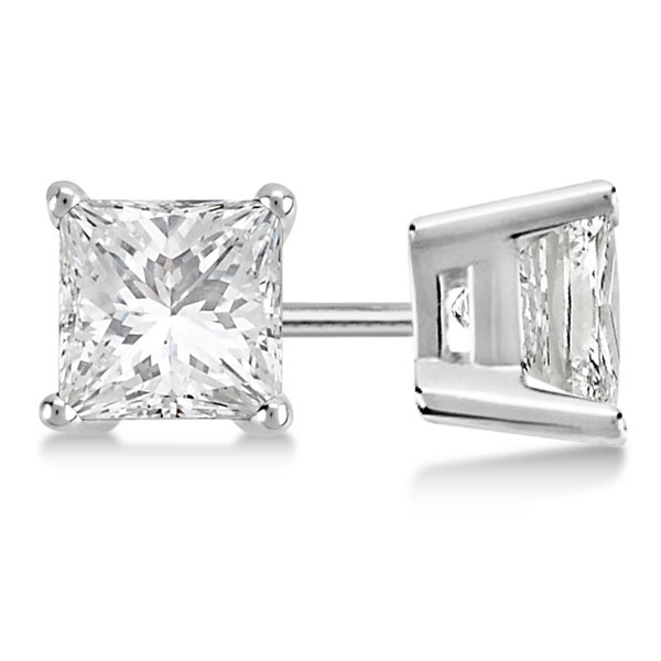 Square Diamond Stud Earrings Basket Setting In Platinum