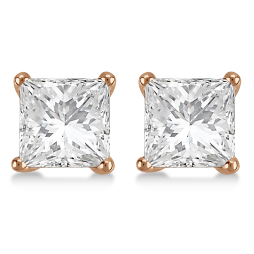 Square Diamond Stud Earrings Martini Setting In 14K Rose Gold