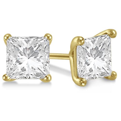 Square Diamond Stud Earrings Martini Setting In 14K Yellow Gold