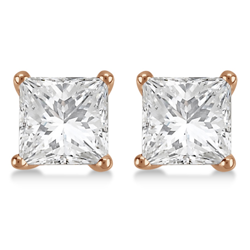 Square Diamond Stud Earrings Martini Setting In 18K Rose Gold