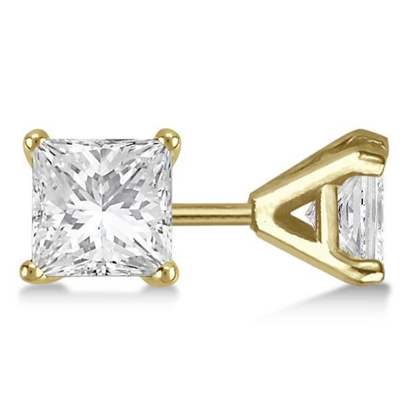 Square Diamond Stud Earrings Martini Setting In 18K Yellow Gold