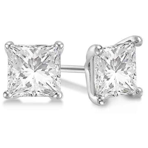 Square Diamond Stud Earrings Martini Setting In Palladium