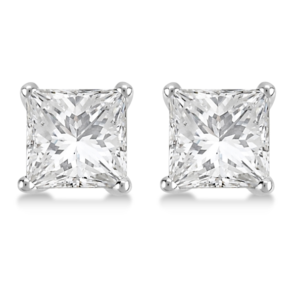 Square Diamond Stud Earrings Martini Setting In Platinum