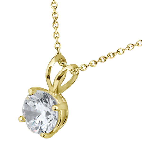 Four Prong Solitaire Pendant Setting in 14k Yellow Gold