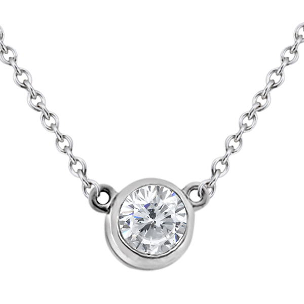 Bezel-Set Solitaire Pendant Setting in 14k White Gold