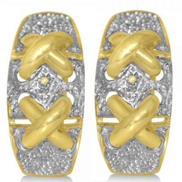 Diamond Accented Huggie Earrings in 14k Yellow Gold (0.17ct)