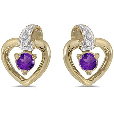 Amethyst and Diamond Heart Earrings 14k Yellow Gold (0.20ctw)