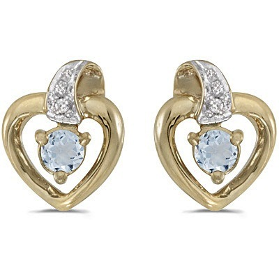 Aquamarine and Diamond Heart Earrings 14k Yellow Gold (0.20ctw)