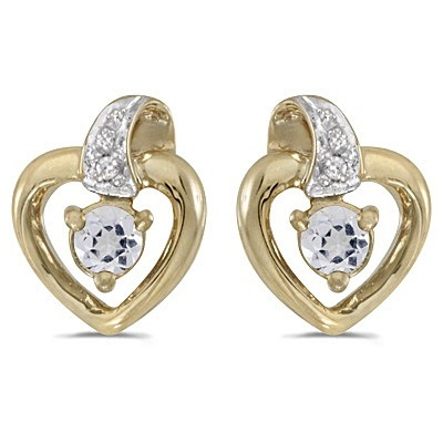 White Topaz and Diamond Heart Earrings 14k Yellow Gold (0.23ctw)