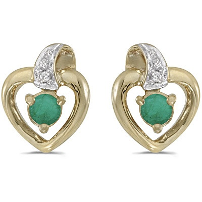 Emerald and Diamond Heart Earrings 14k Yellow Gold (0.20ctw)
