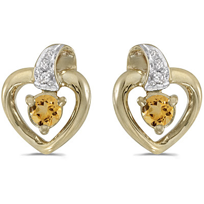 0.20ct Round Citrine and Diamond Heart Earrings 14k Yellow Gold