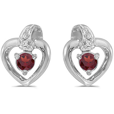 Garnet and Diamond Heart Earrings 14k White Gold (0.28ctw)