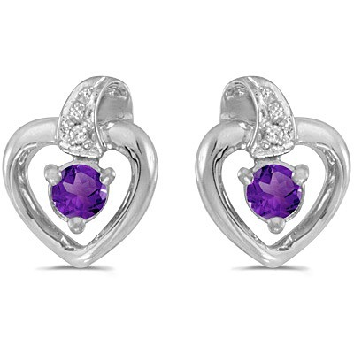 Amethyst and Diamond Heart Earrings 14k White Gold (0.20ctw)