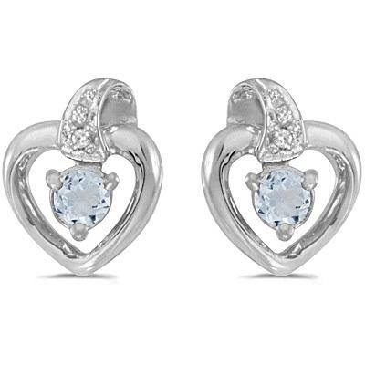 Aquamarine and Diamond Heart Earrings 14k White Gold (0.20ctw)