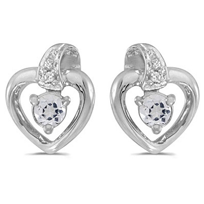 White Topaz and Diamond Heart Earrings 14k White Gold (0.23ctw)