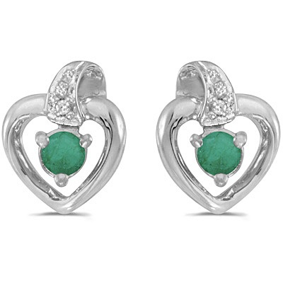 Emerald and Diamond Heart Earrings 14k White Gold (0.20ctw)