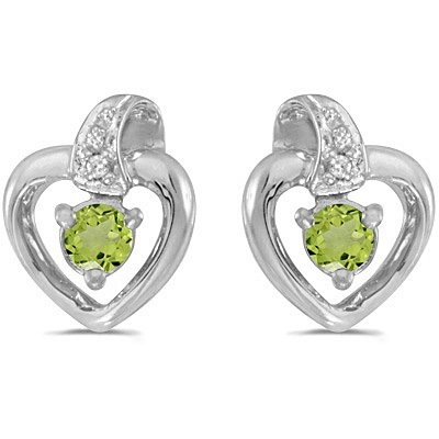 Peridot and Diamond Heart Earrings 14k White Gold (0.28ctw)
