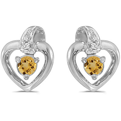 0.20ct Round Citrine and Diamond Heart Earrings 14k White Gold