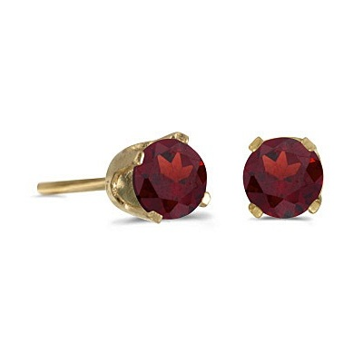 Round Garnet Studs Earrings in 14k Yellow Gold (0.60 ct)