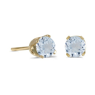 Round Aquamarine Studs Earrings in 14k Yellow Gold (0.46 ct)