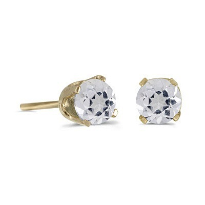 Round White Topaz Stud Earrings in 14k Yellow Gold (0.60ct)