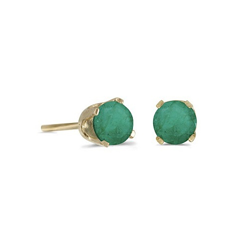 Round Emerald Studs Earrings in 14k Yellow Gold (0.50 ct)