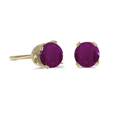 Round Ruby Studs Earrings in 14k Yellow Gold (0.60 ct)