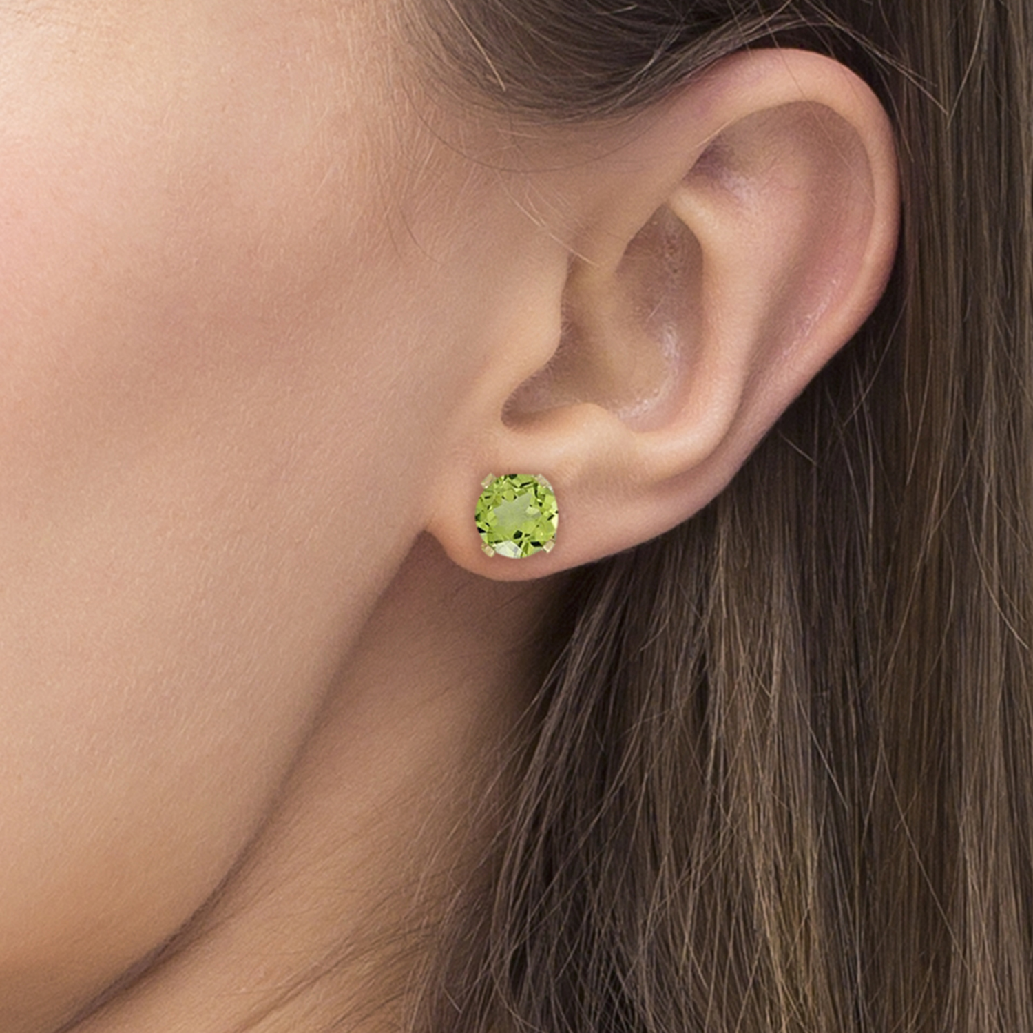 Round Peridot Studs Earrings in 14k Yellow Gold (0.60 ct)