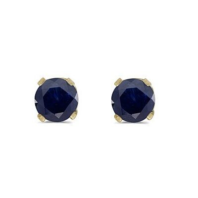 Round Sapphire Stud Earrings in 14k Yellow Gold (4 mm)