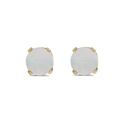 Round Opal Studs Earrings in 14k Yellow Gold (0.60 ct)