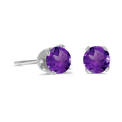 Round Amethyst Studs Earrings in 14k White Gold (0.40ct)