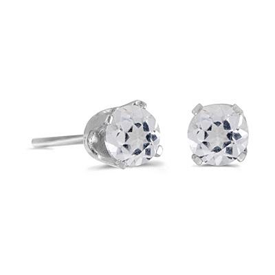 Round White Topaz Stud Earrings in 14k White Gold (0.60ct)