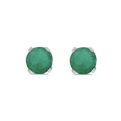 Round Emerald Studs Earrings in 14k White Gold (0.50ct)