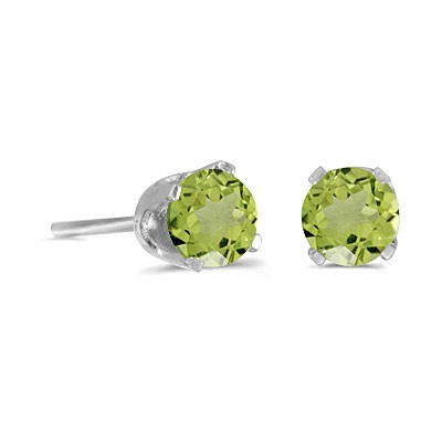 Round Peridot Studs Earrings in 14k White Gold (0.60ct)