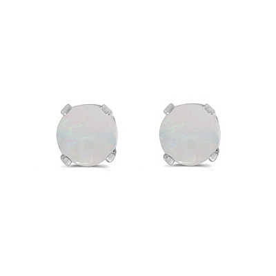 Round Opal Studs Earrings in 14k White Gold (0.60ct)