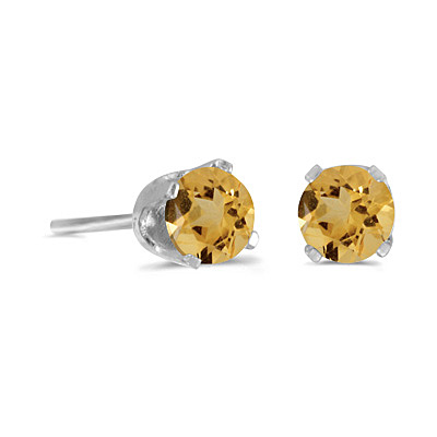 Round Citrine Stud Earrings in 14k White Gold (0.40 tcw)