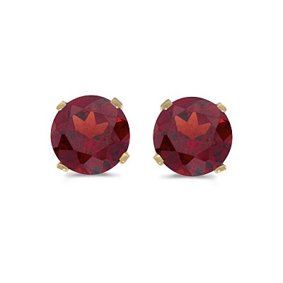 1.20ct Garnet Stud Earrings January Birthstone 14k Yellow Gold