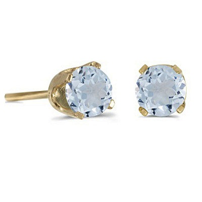0.82ct Aquamarine Stud Earrings March Birthstone 14k Yellow Gold