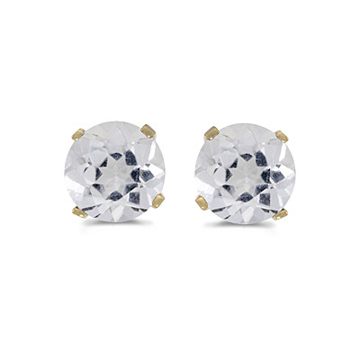 White Topaz Round Stud Earrings 14k Yellow Gold (1.12ct)