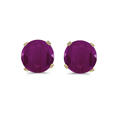 1.20ct Ruby Stud Earrings July Birthstone 14k Yellow Gold