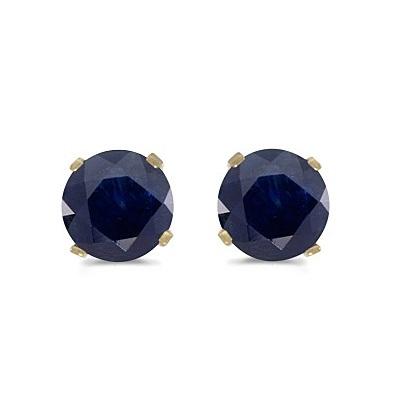 1.20ct Blue Sapphire Stud Earrings September Birthstone 14k Yellow Gold