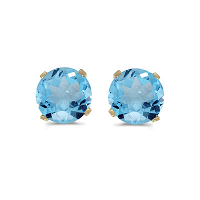 1.12ct Blue Topaz Stud Earrings December Birthstone 14k Yellow Gold