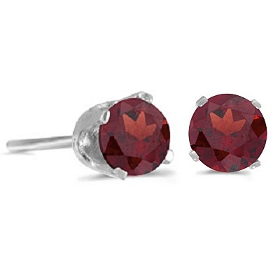 1.20ct Garnet Stud Earrings January Birthstone 14k White Gold