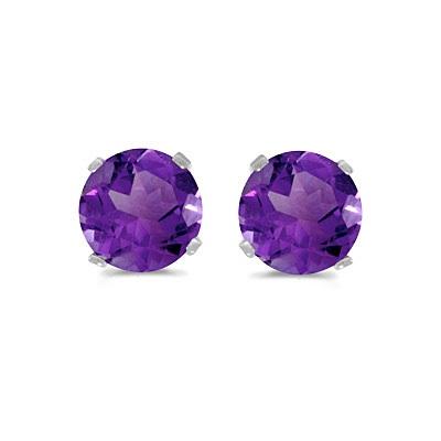 0.80ct Amethyst Stud Earrings February Birthstone 14k White Gold
