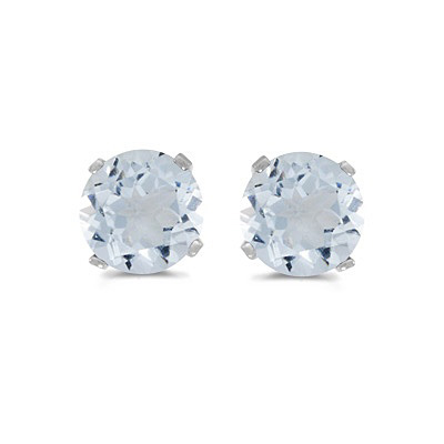 0.82ct Aquamarine Stud Earrings March Birthstone 14k White Gold