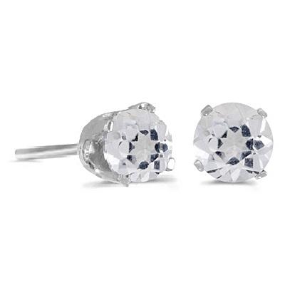 White Topaz Round Stud Earrings 14k White Gold (1.12ct)