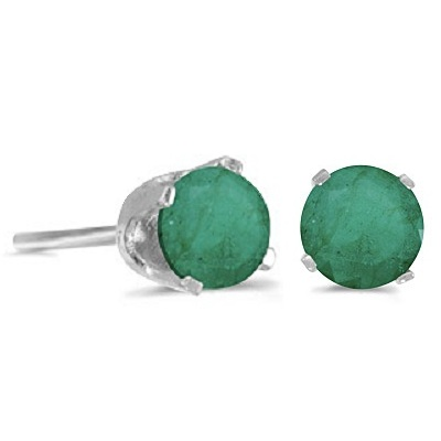 0.96ct Emerald Stud Earrings May Birthstone 14k White Gold