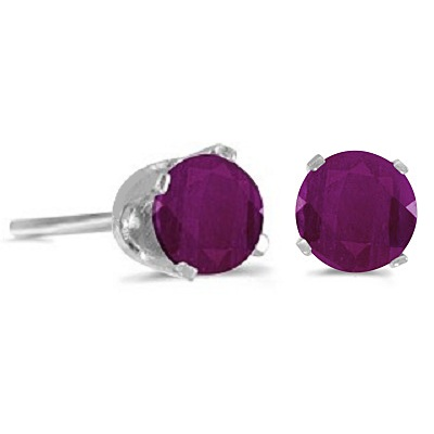 1.20ct Ruby Stud Earrings July Birthstone 14k White Gold