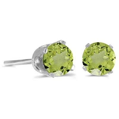 1.20ct Peridot Stud Earrings August Birthstone 14k White Gold
